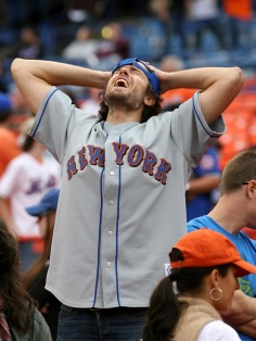 New York Mets fan Seth Fleischauer of Brooklyn at the end of